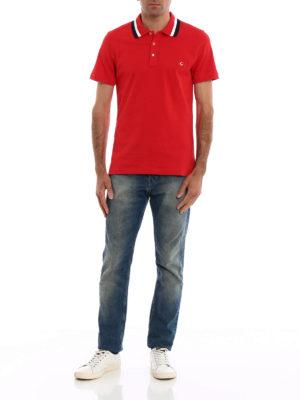 FAY: polo online - Polo rossa colletto a contrasto
