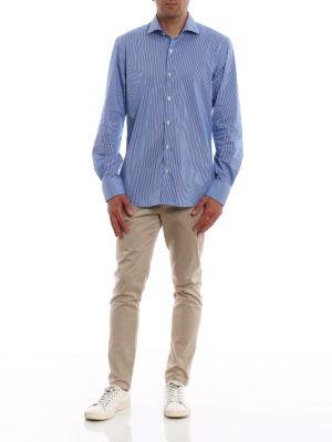 FAY: camicie online - Camicia in misto cotone blu a righe
