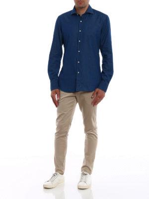 FAY: camicie online - Camicia in denim di cotone blu