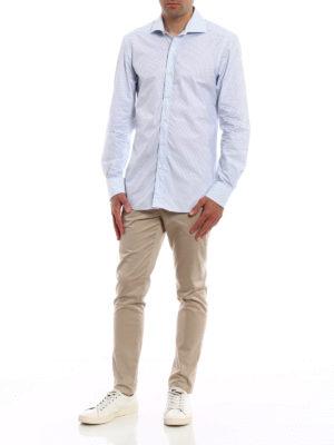 FAY: camicie online - Camicia in cotone blu micro motivo