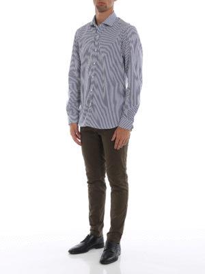 FAY: camicie online - Camicia in cotone a righe blu
