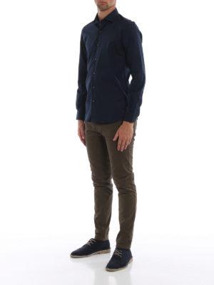 FAY: camicie online - Camicia blu in popeline di cotone stretch