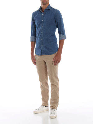 FAY: camicie online - Camicia in denim con collo alla francese