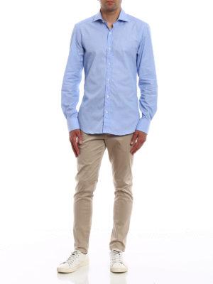 FAY: camicie online - Camicia in cotone fil-à-fil azzurro