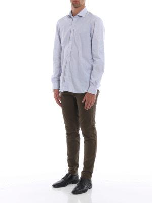 FAY: camicie online - Camicia azzurra in cotone a quadrettini