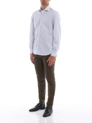 FAY: camicie online - Camicia in popeline di cotone a righe azzurre