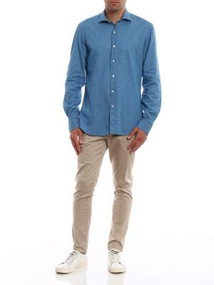 FAY: camicie online - Camicia in denim lavaggio chiaro