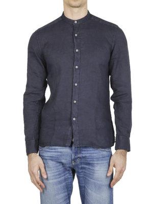FAY: camicie online - Camicia in lino blu collo coreana