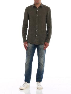 FAY: camicie online - Camicia casual in lino verde oliva