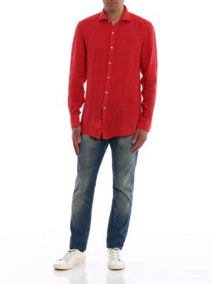 FAY: camicie online - Camicia casual in lino rosso