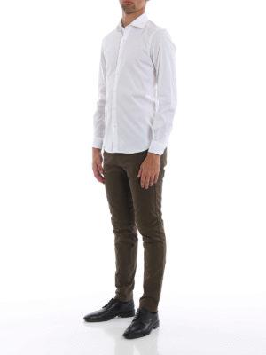 FAY: camicie online - Camicia bianca in popeline di cotone stretch