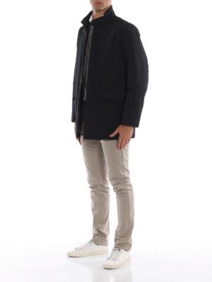 FAY: cappotti corti online - Impermeabile corto in tecno gabardine nero