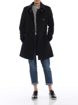 FAY: cappotti corti online - Cappotto in panno di lana e cashmere nero