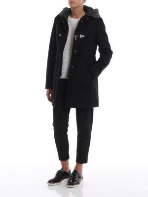 FAY: cappotti corti online - Cappotto nero con cappuccio in nylon