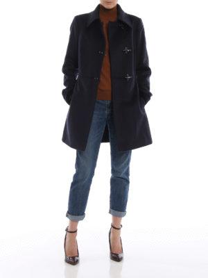FAY: cappotti corti online - Cappotto in panno di lana e cashmere blu
