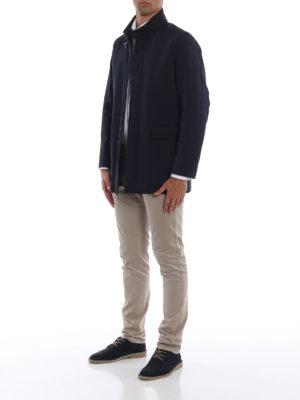 FAY: cappotti corti online - Impermeabile corto in tecno gabardine blu