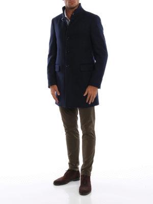 FAY: cappotti corti online - Cappotto blu scuro in panno di misto lana