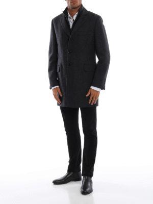 FAY: cappotti corti online - Cappotto spigato in lana e cashmere con gilet