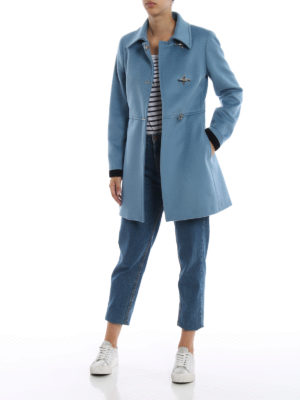 FAY: cappotti corti online - Cappotto in lana e cashmere azzurro