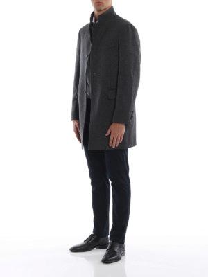 FAY: cappotti corti online - Cappotto monopetto in lana cotta melange