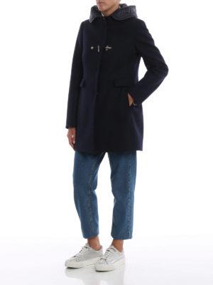 FAY: cappotti corti online - Cappotto blu scuro  con cappuccio in nylon