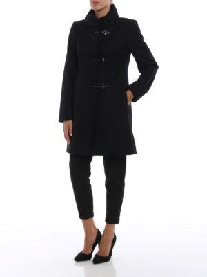 FAY: cappotti corti online - Cappotto Romantic nero in lana e cashmere