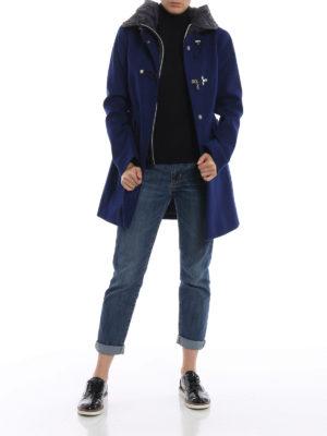 FAY: cappotti corti online - Cappotto in lana con cappuccio e double front