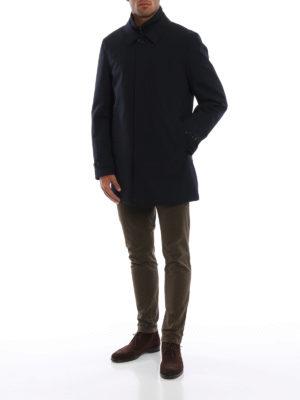 FAY: cappotti trench online - Trench blu scuro con double front imbottito