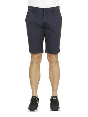 FAY: pantaloni shorts online - Bermuda in cotone stretch blu
