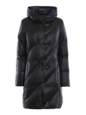 FAY: cappotti imbottiti - Piumino in nylon nero con cappuccio blu