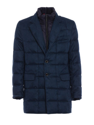 Fay: padded coats - Blue herringbone padded short coat