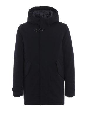 FAY: cappotti imbottiti - Piumino in lana tecnica blu con cappuccio