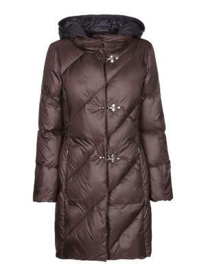FAY: cappotti imbottiti - Piumino marrone con cappuccio blu