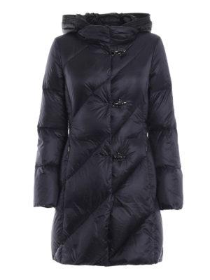 FAY: cappotti imbottiti - Piumino in nylon blu con cappuccio nero