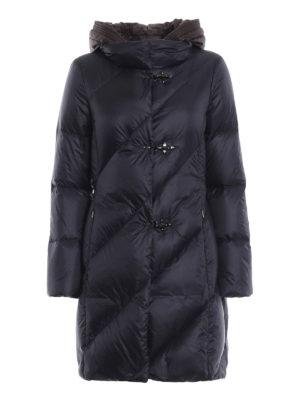 FAY: cappotti imbottiti - Piumino blu scuro con cappuccio marrone