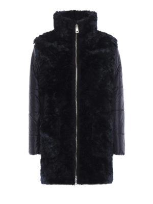 FAY: cappotti imbottiti - Piumino in nylon ed ecopelliccia blu scuro