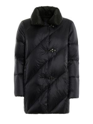 FAY: cappotti imbottiti - Piumino blu scuro con collo nero a contrasto