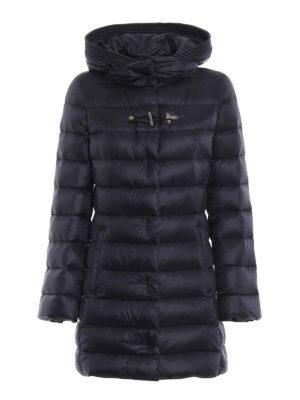 FAY: cappotti imbottiti - Piumino in nylon blu con cappuccio avvolgente