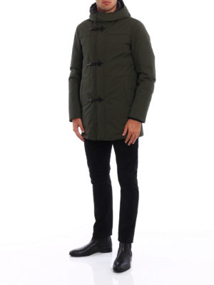 Fay: padded coats online - Coated wool blend duffel coat