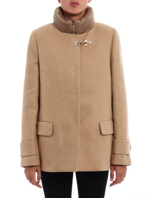 Fay: padded coats online - Collarless coat with puffer vest