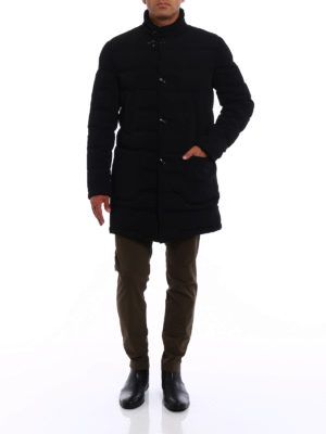 Fay: padded coats online - Stretch techno fabric black coat