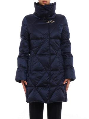 Fay: padded coats online - Velvet collar blue puffer coat