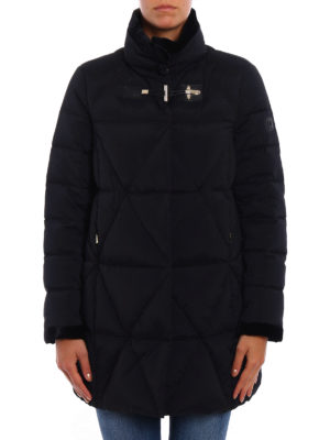 Fay: padded coats online - Velvet trimmed quilted coat