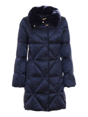 Fay: padded coats - Velvet collar blue puffer coat