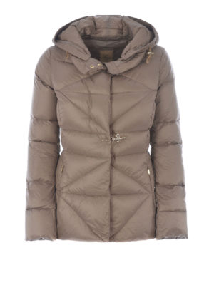 Fay: padded jackets - Beige quilted padded hooded jacket