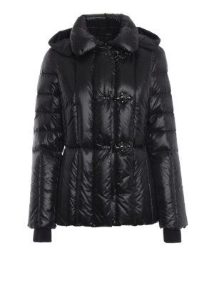 FAY: giacche imbottite - Piumino trapuntato nero con cappuccio