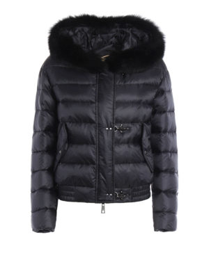 Fay: padded jackets - Fur trimmed hooded padded bomber