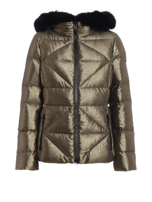 Fay: padded jackets - Fur trimmed metallic down jacket