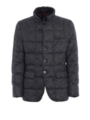 Fay: padded jackets - Grey melange padded jacket