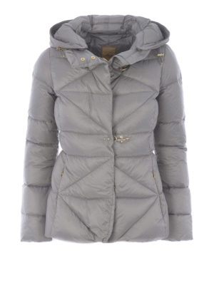 Fay: padded jackets - Grey quilted padded hooded jacket